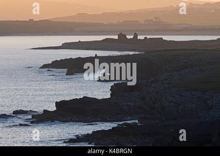 View from Sumburgh Head  along cliffs towards towards Jarlshof and Sumburgh airport Shetland June - Stock Photo