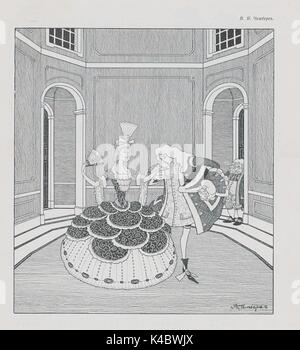 Cartoon from the Russian satirical journal Adskaia Pochta showing nobles in elaborate clothing dancing in a ballroom, - Stock Photo