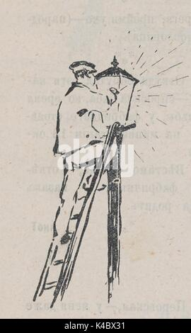 Cartoon of a lamplighter lighting a gas street lamp, from the Russian satirical journal Fonar, 1905. - Stock Photo
