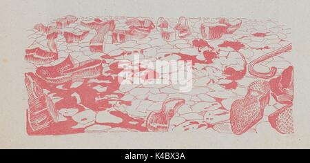 Cartoon showing discarded shoes, a cane, blood and the top of a body on the ground among cobblestones, from the - Stock Photo