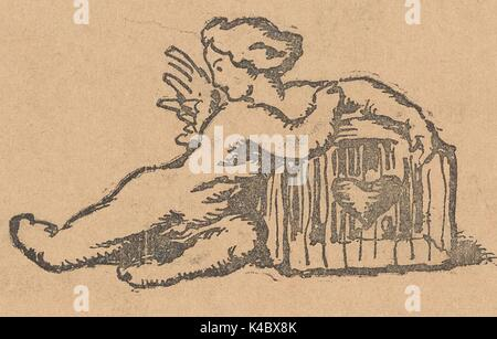 Cartoon showing a winged cherub guarding a box with a heart, from the Russian satirical journal Bich, 1917. - Stock Photo