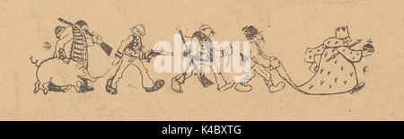 Cartoon of hunters, soldiers and other citizens following a Catholic clergyman while holding up his robes, from - Stock Photo