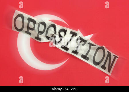 Destroyed Word Opposition With Flag Of Turkey - Stock Photo