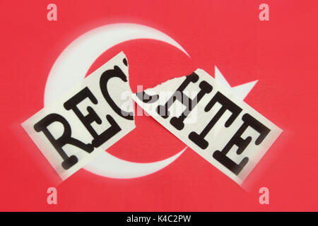 Destroyed Word Rights With Flag Of Turkey - Stock Photo