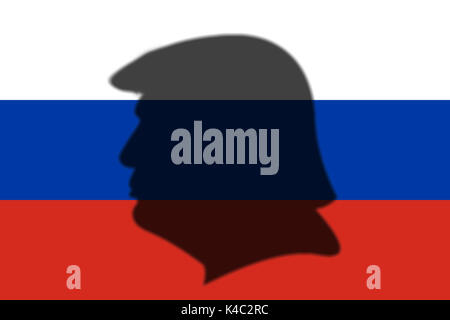 Silhouette Of Donald Trump With Flag Of Russia - Stock Photo