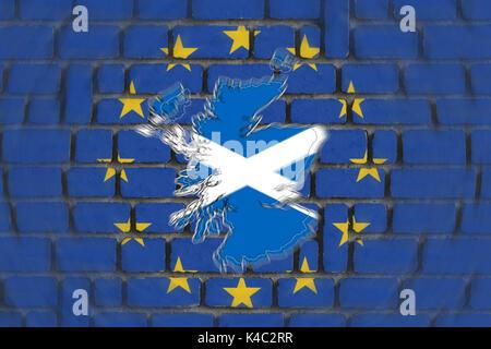Silhouette Of Scotland With Eu European Union Flag And Wall - Stock Photo
