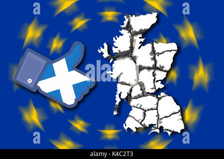 Flag Of Eu European Union With Eroding Britain And Facebook Like Icon With Flag Of Scotland - Stock Photo