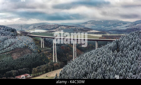 Highest Viaduct Nrw In Bestwig   Nuttlar In Autumnal-Wintery Landscape - Stock Photo