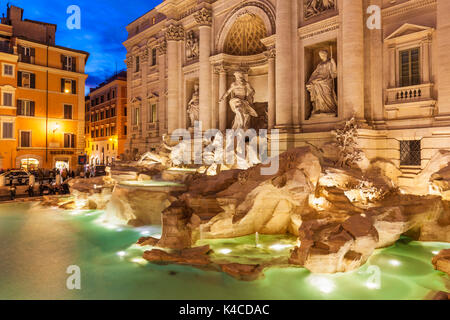 Rome Italy The Trevi Fountain backed by the Palazzo Poli illuminated at night  Rome Italy Lazio EU Europe - Stock Photo