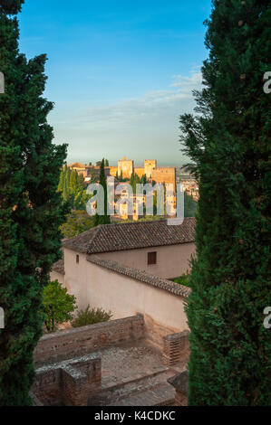 Alhambra In Granada, View Of The Nasrid Palace Seen From The Gardens Of The Generalife, Andalusia, Spain - Stock Photo
