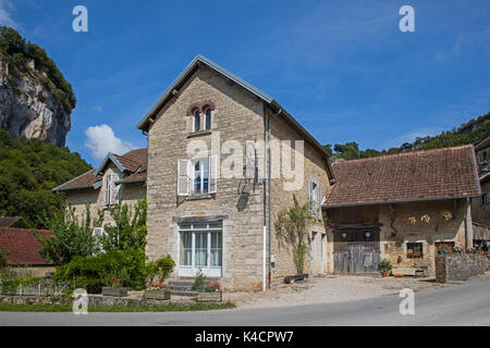 Typical house in the village Baume-les-Messieurs, Jura department in Franche-Comté, Lons-le-Saunier, France