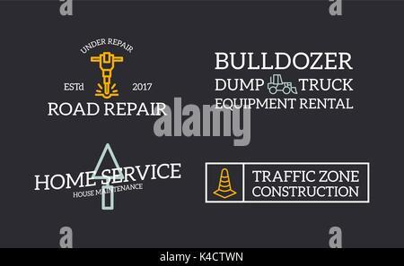 Set of retro vintage construction, jackhammer, putty knife, traffic cone, bulldozer logo or insignia, emblems, labels - Stock Photo