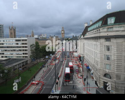 View of Westminster Bridge and Big Ben fron the sixth floor of the Park Plaza hotel. Westminster, London, UK. - Stock Photo