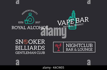 Set of retro vintage night club, billiard, vape, cognac, disco logo or insignia, emblems, labels and badges and - Stock Photo