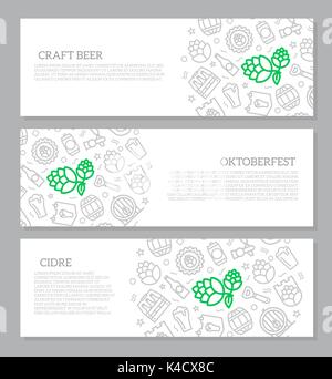 Set of three digital beer, pub and bar horizontal banners with icon pattern. Vector illustration - Stock Photo