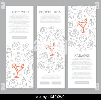 Set of three digital night club and cocktail bar vertical banners with icon pattern. Vector illustration - Stock Photo
