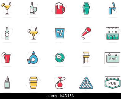 Set of vector alcohol and bar, night club colored line icons. Cocktail, wine, beer, cup, tequila, cognac, whiskey, - Stock Photo