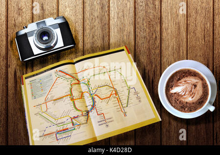 Travel planning concept on map - Stock Photo