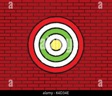 target on brick wall, round target, brick grunge texture - Stock Photo