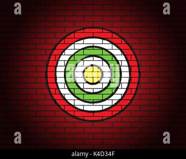 Target on brick wall with illumination, brick grunge texture - Stock Photo