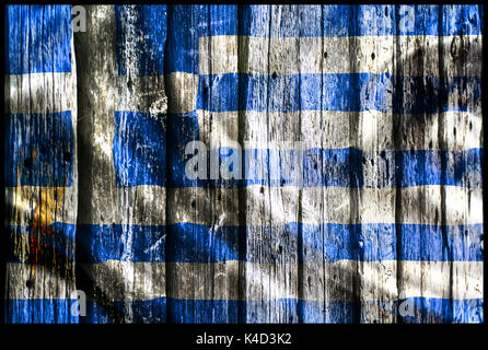 greece flag on the wooden wall - Stock Photo