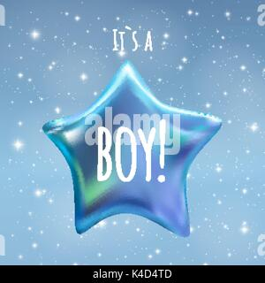 It is a Boy Twinkle Little Star on Night Sky Background. Vector illustration - Stock Photo