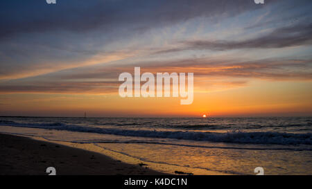 sunset at Soulac sur mer - Stock Photo