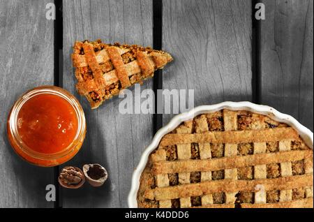 Walnut Pie and Homemade jam - Stock Photo