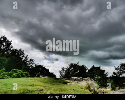 Moody skies above Black Rocks, Wirksworth, Derbyshire (Peak District National Park) - Stock Photo