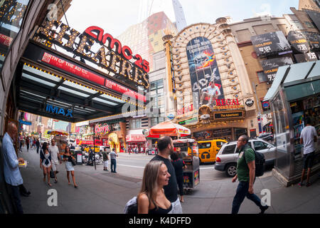 The AMC 25 Theatre and the Regal Cinemas in Times Square in New York on Sunday, August 27, 2017. As theaters head - Stock Photo
