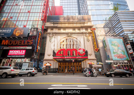 The AMC 25 Theatre in Times Square in New York on Sunday, August 27, 2017. As theaters head into the Labor Day weekend - Stock Photo