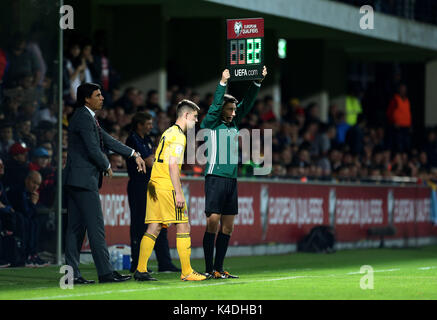 Wales' Ben Woodburn comes on as a substitute during the 2018 FIFA World Cup Qualifying, Group D match at Stadionul - Stock Photo