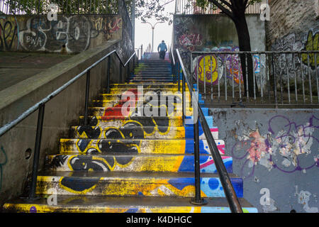 A decorated step street in the Bronx borough of New York on Sunday, September 3, 2017. Due to the hilly nature of - Stock Photo