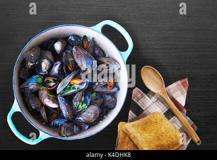 Steamed Mussels and Toast - Stock Photo