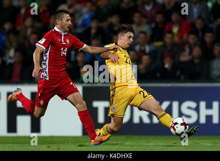Wales' Ben Woodburn (right) and Moldova's Vitalie Bordian battle for the ball during the 2018 FIFA World Cup Qualifying, - Stock Photo