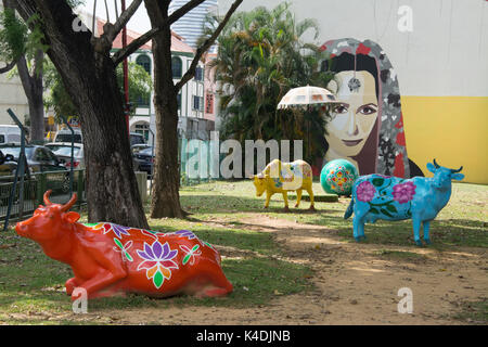 Creative installation based on design by Marthalia Budiman in Clive Street, Little India, Singapore - Stock Photo
