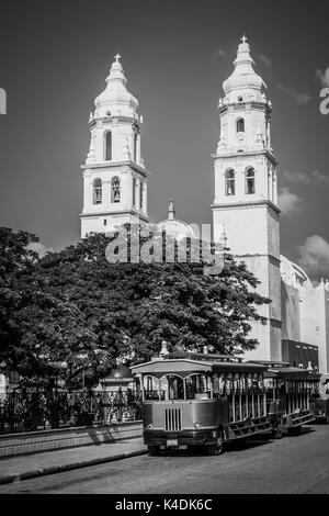 Black and white image of the a Campeche cathedral, Mexico. - Stock Photo
