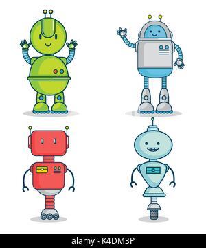 set of cute cartoon robots technology - Stock Photo