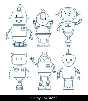 black and white set of cute cartoon robots technology - Stock Photo