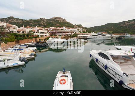 The marina at Poltu Quatu, Costa Smeralda, Sardinia, Italy - Stock Photo