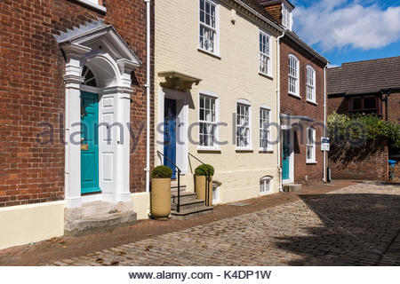 A terrace of houses in St James Close, a back street of Poole, Dorset, England - Stock Photo