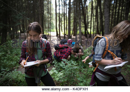 Teenage outdoor school girl students in woods taking notes in notebooks - Stock Photo