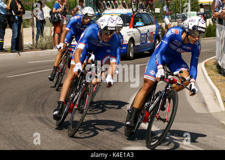 NICE - JULY 2ND : The TOUR 2013  (Tour de France) . FDJ.fr Team during Nice/Nice Stage 4 (25 km). - Stock Photo