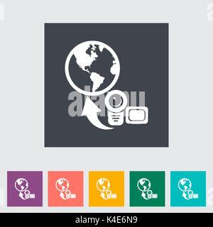 Upload video. Single flat icon. Vector illustration. - Stock Photo