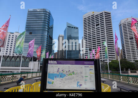 Darling Harbour Public Map On The Pyrmont Swing Bridge Sydney Australia With The Central Business District Skyscraper - Stock Photo