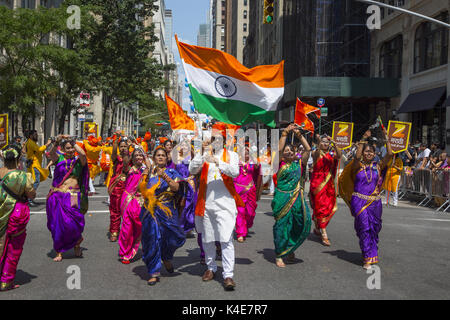 Indians in NY City come out for the annual Indian Independence Day Parade on Madison Avenue in Manhattan.