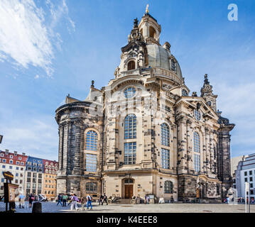Germany, Saxony, Dresden, Neumarkt Square, view of the baroque sandstone structure of reconstructed Dresden Frauenkirche - Stock Photo