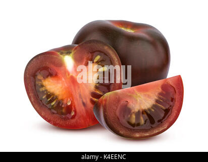 Black tomatoes isolated on white background - Stock Photo