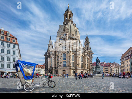 Germany, Saxony, Dresden, Neumarkt Square with view of the Martin Luther memorial and the reconstructed Dresden - Stock Photo
