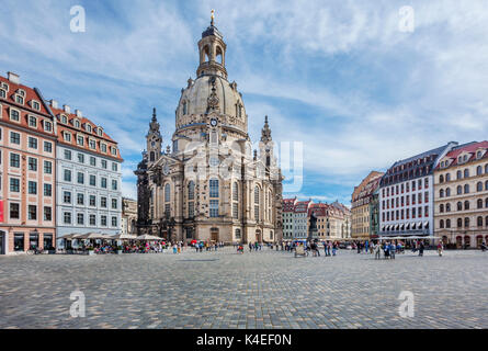 Germany, Saxony, Dresden, Neumarkt Square, view of the reconstructed Dresden Frauenkirche - Stock Photo